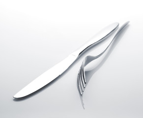 Silverware or flatware set of fork and knife