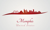 Memphis skyline in red