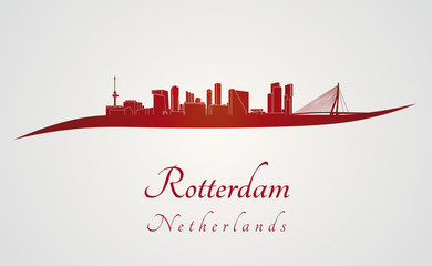 Rotterdam skyline in red