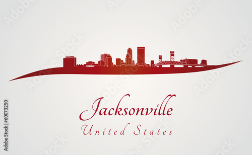 Jacksonville skyline in red