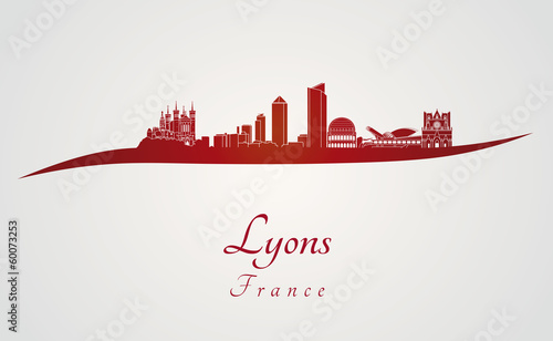 Lyons skyline in red