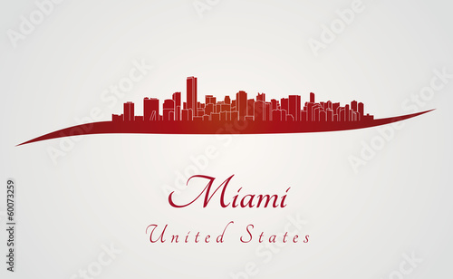 Miami skyline in red