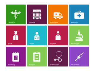 Hospital icons on color background.