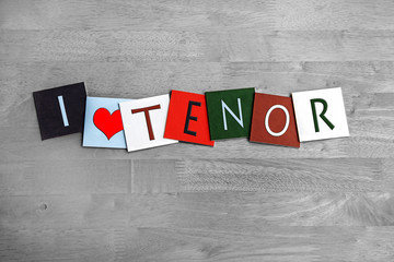 I Love Tenor, sign series for singing, choirs, music.