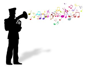 Playing brass instrument