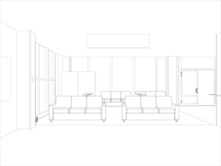 Room. Sofas and windows. Vector format. Created from 3D model