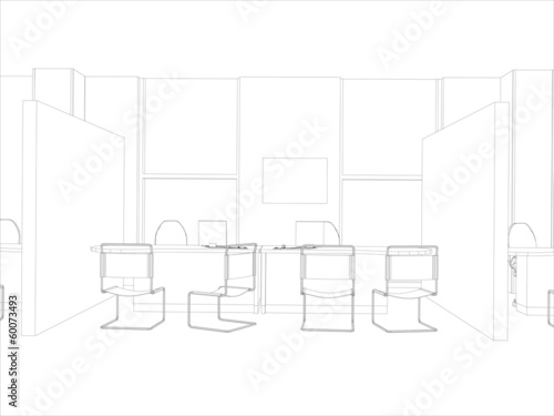 Room. Computer tables, chairs and window. Vector format