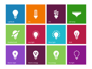 Light bulb and CFL lamp icons on color background.