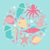 Fototapety Colorful set of marine animals. Children vector illustration