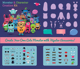 Vector Hipster Monster and Character Creation Kit