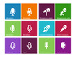 Microphone icons on color background.