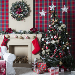 Christmas Tree, Christmas gift boxes in interior