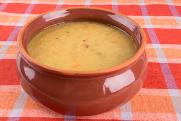 Traditional fresh pea soup in a bowl