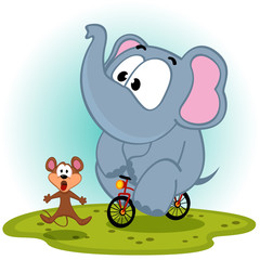 elephant  on bike catches mouse - vector illustration