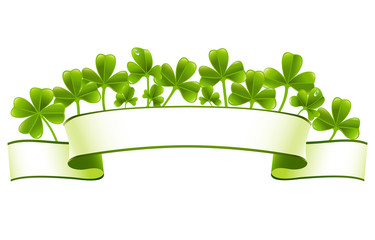 Green banner with clover leafs
