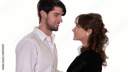 romantic young couple showing thumbs up