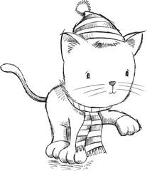 Sketch Winter Holiday Kitten Cat Vector Illustration Art