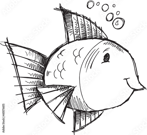 Cute Fish Sketch Doodle Illustration Vector Art