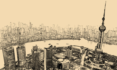 Shanghai - aerial view above the river