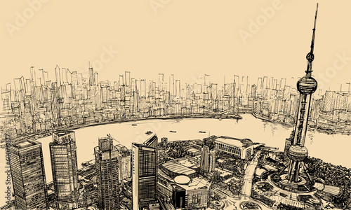 Shanghai - aerial view above the river - 60076877