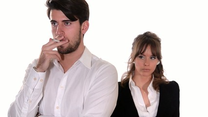angry girl breaking her boyfriend's cigarette