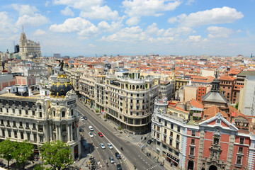 Madrid City Skyline aerial view, Madrid, Spain