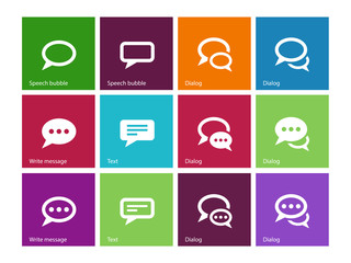 Speech bubble icons on color background.