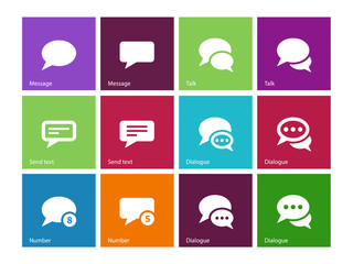 Message bubble icons on color background.