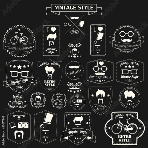 Collection of vintage hipster labels, badges and stamps