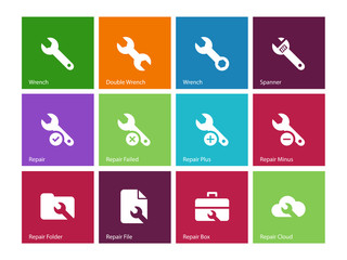 Repair Wrench icons on color background.