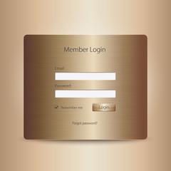 Login web window in gold color.