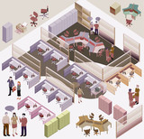 office isometric vector. workstation, lmanager room
