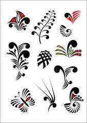 Maori Koru Design Elements Color Icon Set