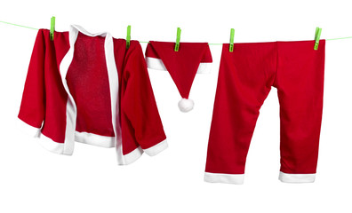 The Santa clothes on the clothesline