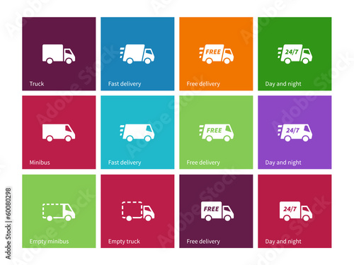 Delivery Service icons on color background.