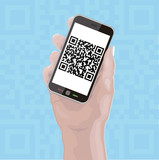 Hand holding Cellphone with QR Code on background