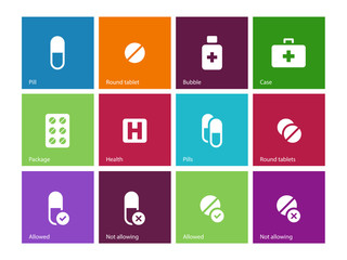 Pills, medication icons on color background.