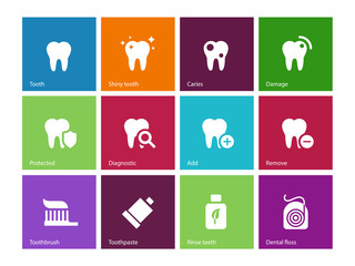 Tooth, teeth icons on color background.