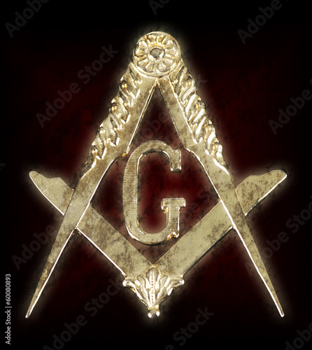 freemasonry golden medal  square & compass