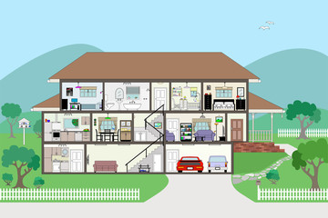 Large Modern House Interior Cutaway