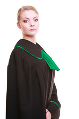 Lawyer attorney wearing classic polish black green gown