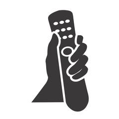 hand holding remote control black web icon