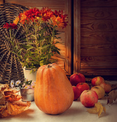 Store room with autumn harvest. Toning retro style