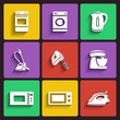 home appliances and electronics flat design icon set. template