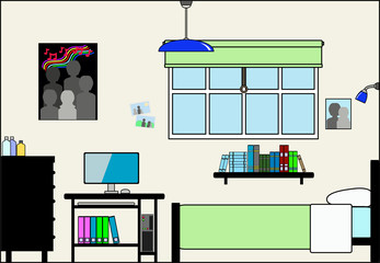 Teen Bedroom with Computer Desk Furniture and Fittings