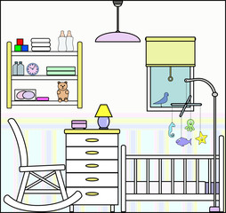 Nursery or Baby Room with Cot Furniture and Fittings