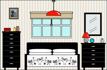Master Bedroom with Bed Dresser Furniture and Fittings