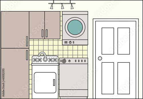 Laundry with Washing Machine Dryer and and Fittings