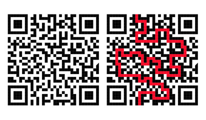 QR Code Maze with Solution in Red