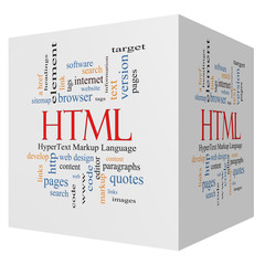 HTML 3D cube Word Cloud Concept